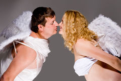 Angels kissing Royalty Free Stock Images