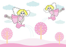 In angels land. Two pretty angels pour fairy red tree of magic hearts Royalty Free Stock Images