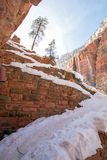 Angels Landing Hiking Trail switchbacks in snow during winter in Zion National Park in Utah Stock Photography