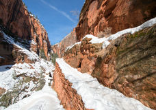 Angels Landing Hiking Trail switchbacks in snow during winter in Zion National Park in Utah Stock Images