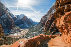 Angels Landing Hiking Trail in the winter high above the Virgin River in Zion National Park in Utah Royalty Free Stock Image
