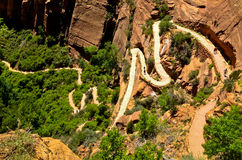 Angels landing trail. Backpackers walking in the trail of Angels landing, Zion National Park,Utah, USA Stock Photo
