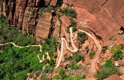 Angels Landing trail from above in Zion. Angels Landing trail seen from above in Zion National Park, Utah, USA Royalty Free Stock Images