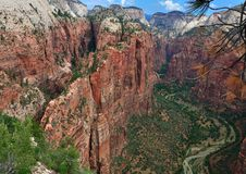 Angels Landing in Zion NP seen from above. Angels Landing in Zion National Park, famous for its vertiginous hike, seen from above Stock Photos