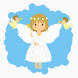 Angels and little angles blowing trumpet illustration Stock Photography