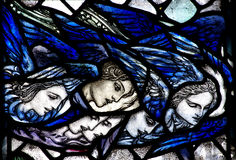Angels looking down from heaven. Stained glass  angels looking down from heaven Royalty Free Stock Images
