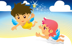 Angels With A Magic Wand, Flying In The Sky Stock Photography