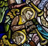 Angels making music in stained glass Royalty Free Stock Photos