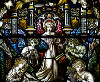 Angels making music in stained glass Stock Photos
