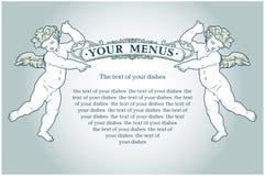 Angels menus. Vector vintage style angels blank background Royalty Free Stock Photo