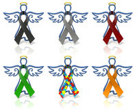 Angels outline awareness ribbons Royalty Free Stock Photo