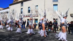 Angels parade at the carnival of Limoux in Aude,  France. Angels parade at the french carnival of Limoux in Aude, Occitania in the southern of France stock footage