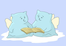 Angels-pillows with the book Royalty Free Stock Images