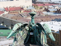 Angels on Piter`s roofs Stock Image