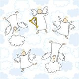 Angels playing and dancing. Cartoon  illustration of angels playing and dancing Royalty Free Stock Images