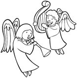 Angels Playing Instruments - Black and White Stock Photos
