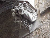 Angels playing music in stone. Architectural detail at Barcelona Cathedral, with angels playing music Stock Photos