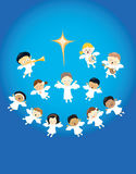 Angels praising the birth of Jesus. Illustration of angels singing and playing instruments. EPS is available vector illustration