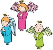 Angels praying. Set of 3 angels praying stock illustration