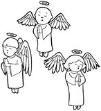 Angels praying - black and white. Set of 3 angels praying - black and white vector illustration