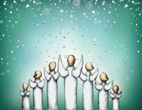 Angels in pyramidal form. Illustration of some christmas angels in pyramidal form Royalty Free Stock Image