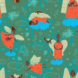 Angels. Seamless pattern with black angels on clouds background stock illustration