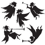 Angels set 3. A set of christmas angel silhouettes Royalty Free Stock Photography