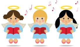 Angels singing. Three angels singing with musical notes around Stock Image