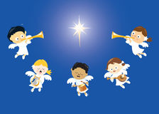 Angels singing and playing instruments. Illustration of angels praising the birth of Jesus Royalty Free Stock Photo