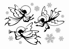 Angels. Soaring Christmas angels with snowflakes for festive design stock illustration