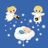 Angels with stars and baby sleeping on the cloud Stock Photo
