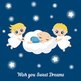 Angels with stars and baby sleeping on the cloud Stock Photography
