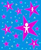 Angels on Stars Blue Stock Image