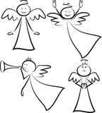 Angels - stickman figures. Vector outlines of christmas and religion symbols Stock Photo