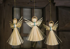 Angels of straw. Rnarticles of straw. Traditional toy. angels fly Stock Photo