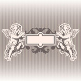 Angels in style of a baroque. Vector illustration. EPS10. It can be used for decorating of wedding invitations, greeting cards Stock Images