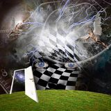 Angels in time. Mask with checkered pattern. Angels in the sky. Human elements were created with 3D software and are not from any actual human likenesses. Some Stock Photos