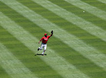 Angels Torii Hunter running to make a catch stock photography
