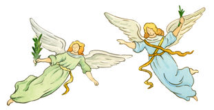 Angels. Two angels flying done with watercolor Stock Image