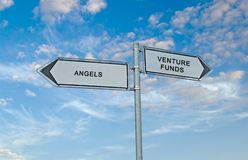 Angels and venture funds. Road Sign to angels and venture funds Stock Photo