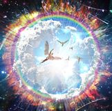 Angels. Vivid galaxy. Naked winged men represents angels. 3D rendering. Human elements were created with 3D software and are not from any actual human likenesses vector illustration