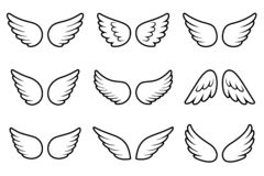 Angels wings set isolated on white background stock photos
