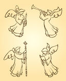Angels Worshipping Set. Variation of hand drawn angel illustration designs Stock Image