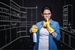 Angenäm hemmafru som clening hennes hus fotografering för bildbyråer
