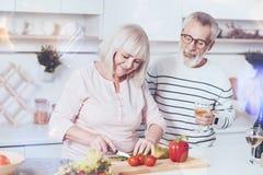 Angenehme liebende gealterte Paare, die Gemüsesalat machen lizenzfreie stockfotos
