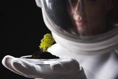 Angenehmer Frauenkosmonaut betrachtet neuen Organismus stockbilder
