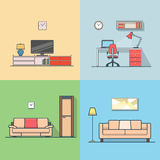 Angenehmes modernes Minimum des Eigentumswohnungsunterkunfts-Wohnzimmers Lizenzfreies Stockbild