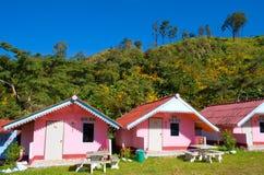 Angeordnete rosafarbene Häuser vor einem Berg Lizenzfreies Stockbild