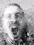 Anger. Abstract monochrome portrait behind ice layer expressing anger stock image