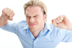 Anger. Young man showing his anger stock image